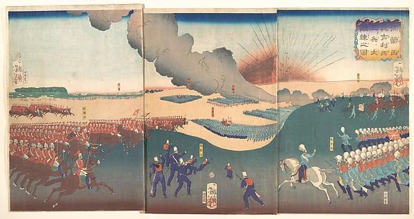 仏蘭西英吉利三兵大調錬之図<br/>Maneuvers by Three Categories of French and English Soldiers (Furansu Igirisu sanhei ōchōren no zu)
