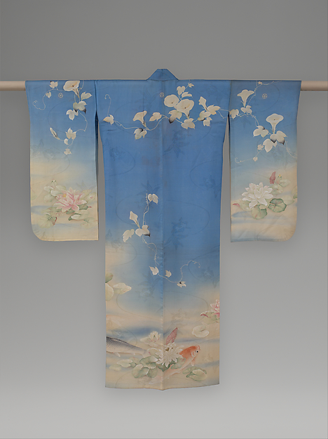 浅葱絽地鯉睡蓮朝顔模様単衣<br/>Unlined Summer Kimono (Hito-e) with Carp, Water Lilies, and Morning Glories