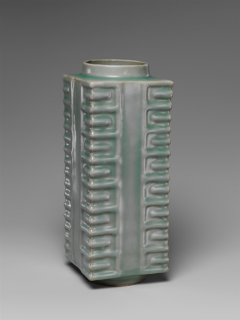 Vase in Shape of Neolithic Jade Cong