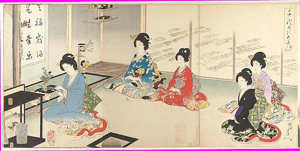 千代田の大奥 茶の湯辺り花<br/>Chiyoda Inner Palace: No.20 Flower Arranging in Turn (Chiyoda no Ōoku: Chanoyu mawaribana)