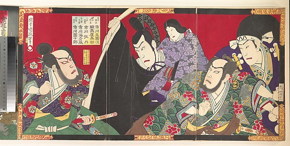 Album of Thirty-Two Triptychs of Polychrome Woodblock Prints by Various Artists
