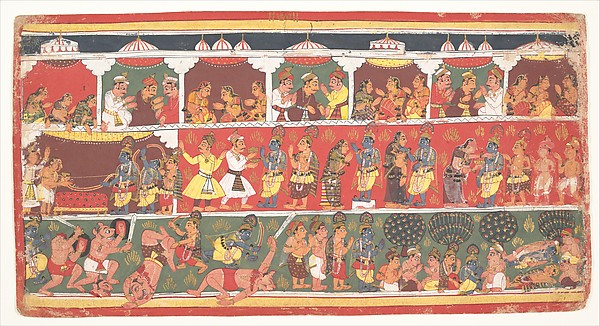 Encounters in Mathura: Page from a Dispersed Bhagavata Purana (Ancient Stories of Lord Vishnu)