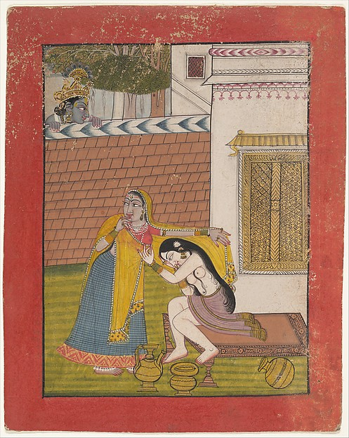 Krishna Spying on Radha