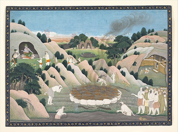 The Monkey King Vali's Funeral Pyre; from a Ramayana series