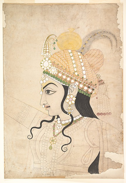 Head of Krishna: cartoon for a mural of the Raslila