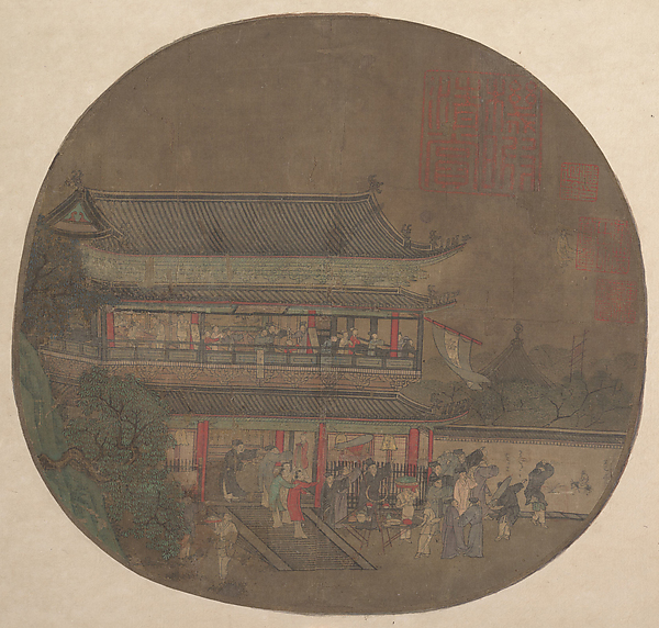 南宋 佚名	呂洞賓過岳陽樓圖 團扇<br/>The Immortal Lü Dongbin Appearing over the Yueyang Pavilion