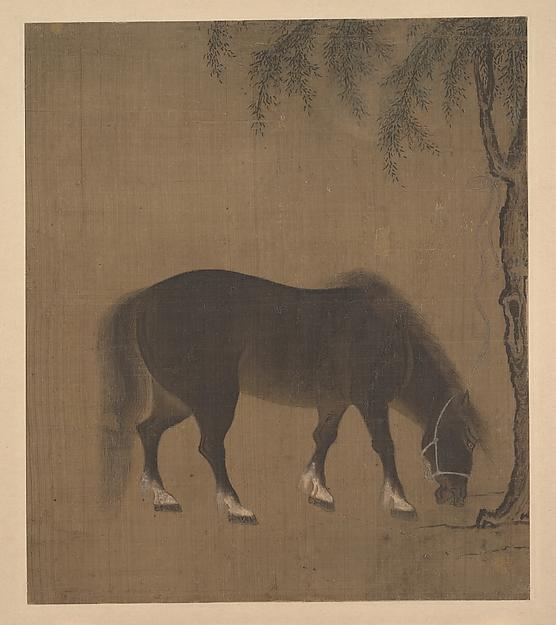 明  佚名  柳馬圖  冊頁<br/>Horse and Willow Tree