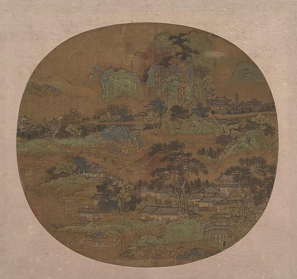 明  佚名  樓閣江帆圖  團扇<br/>Village and Temples in Jiangnan