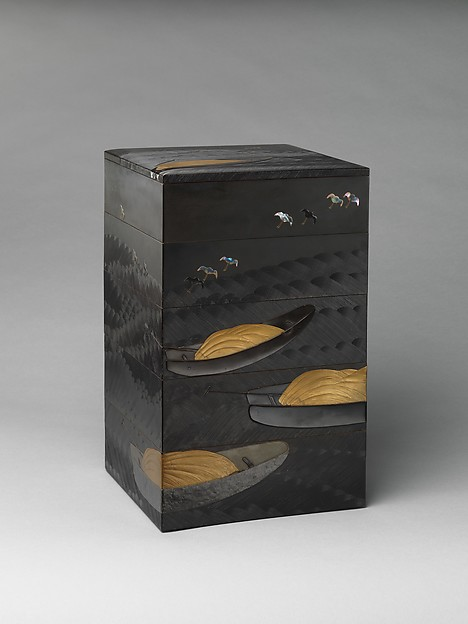 Tiered Box (Jūbako) with Design of Boats and Plovers