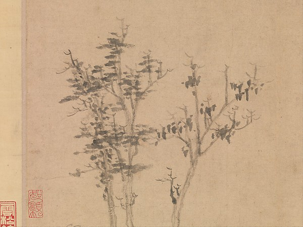 元  倪瓚  江渚風林圖  軸<br/>Wind among the Trees on the Riverbank