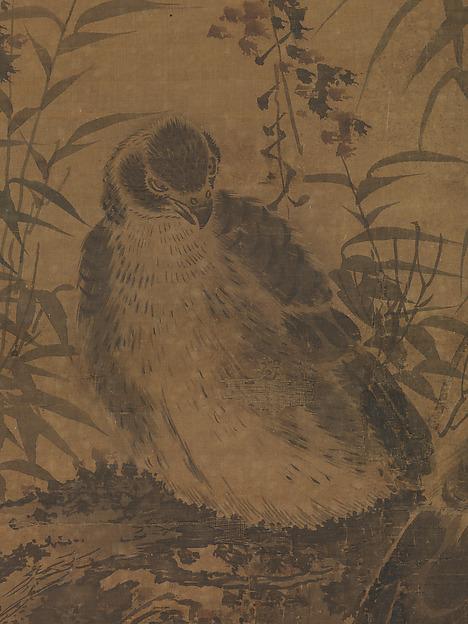 明  林良  二鷹圖  軸<br/>Two hawks in a thicket