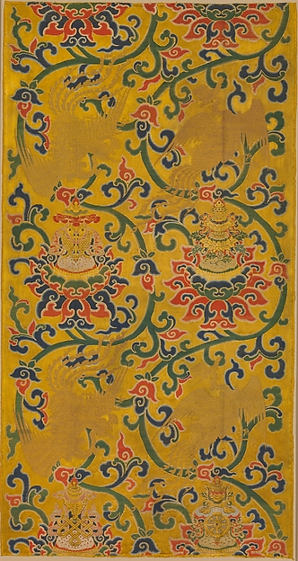 Textile Panel with Phoenixes and Lotuses