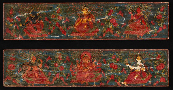 Pair of Manuscript Covers with Goddesses Set in a Foliate Landscape