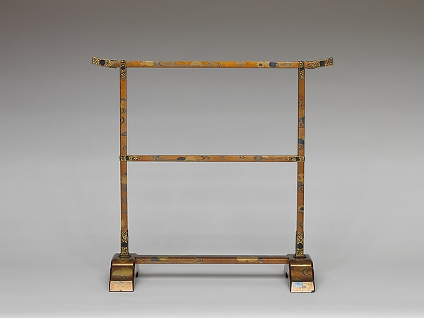 Hand-towel Rack (Tenugui kake) with Chrysanthemums and Meandering Stream