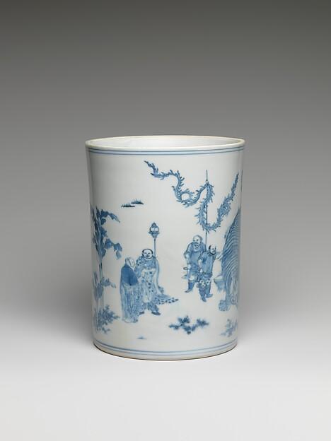 Brush Pot with Scene of  Washing an Elephant
