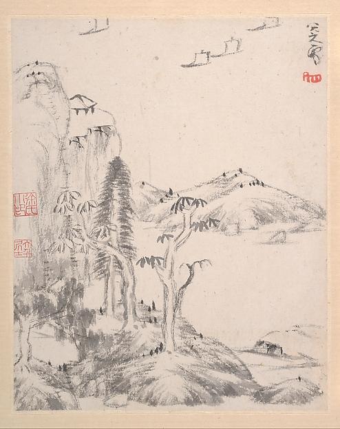 清  朱耷 (八大山人)  山水圖  冊<br/>Landscape Album