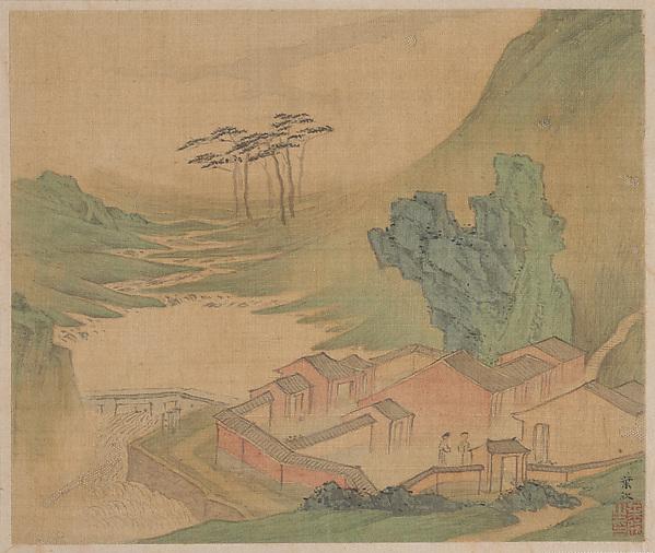 清 葉欣 山水圖 冊 絹本<br/>Landscapes