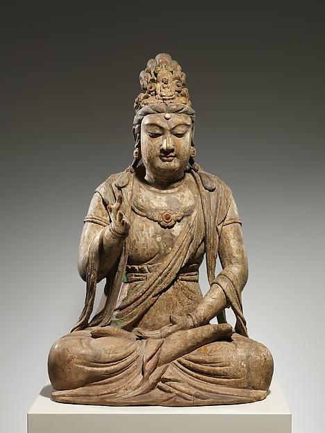 北宋 彩繪木雕觀音菩薩像(地黃木胎)<br/>Bodhisattva Avalokiteshvara (Guanyin)