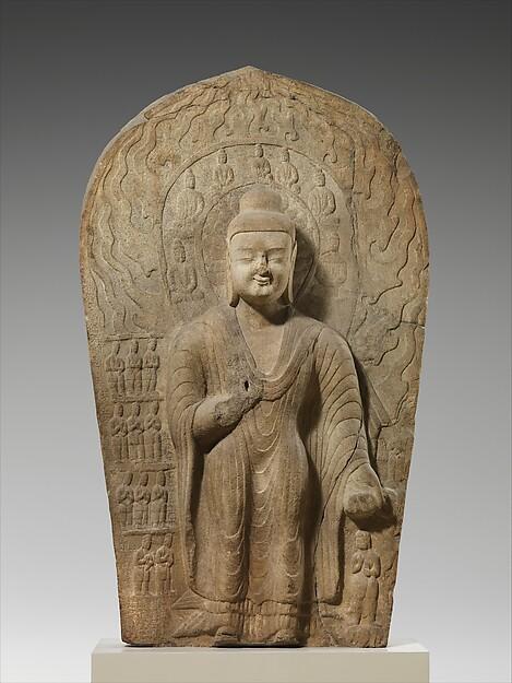 北魏 石雕燃燈佛像(砂岩)<br/>Buddha Dipankara (Diguang)