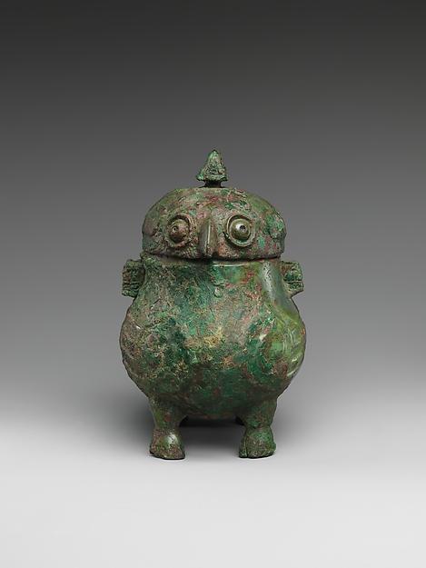 商 青銅鴞形觶<br/>Wine Cup in the Shape of Addorsed Owls (Zhi)