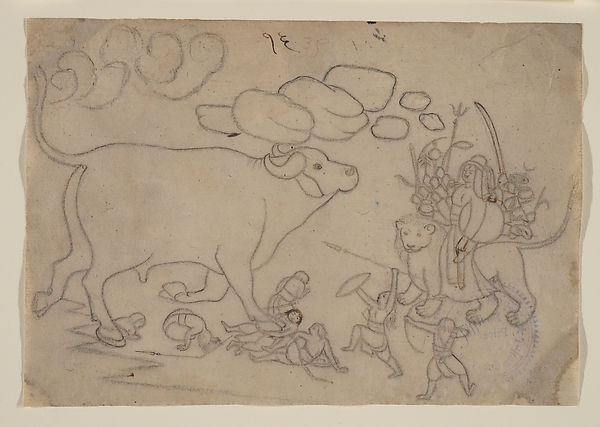 Durga Confronts the Buffalo Demon Mahisha: Scene from the Devi Mahatmya