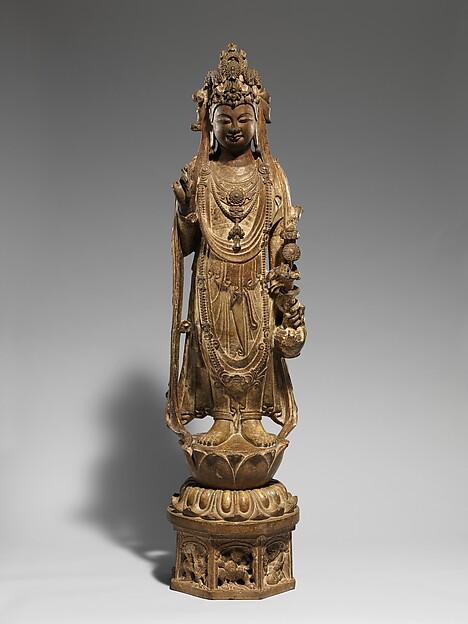 隋/唐 彩繪石雕觀音菩薩像(石灰岩)<br/>Bodhisattva Avalokiteshvara (Guanyin)