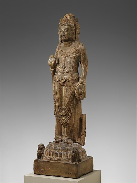隋 彩繪石雕觀音菩薩像(石灰岩)<br/>Bodhisattva, probably Avalokiteshvara (Guanyin)