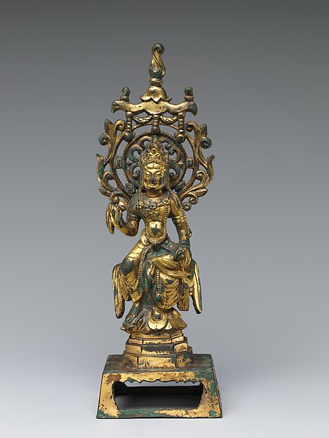 五代 青銅鎏金觀音菩薩像  <br/>Bodhisattva Avalokiteshvara (Guanyin)