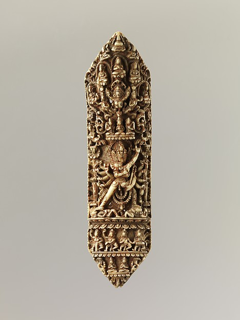 Plaque from a Tantric Ritual Apron (Chakrasamvara and Vajravarahi at Center)