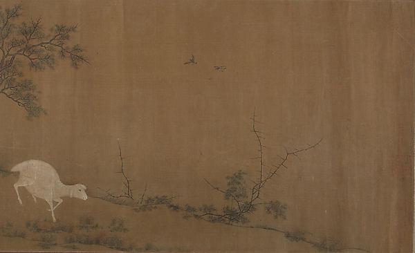 清 佚名 群羊圖卷絹本設色<br/>Landscape with goats