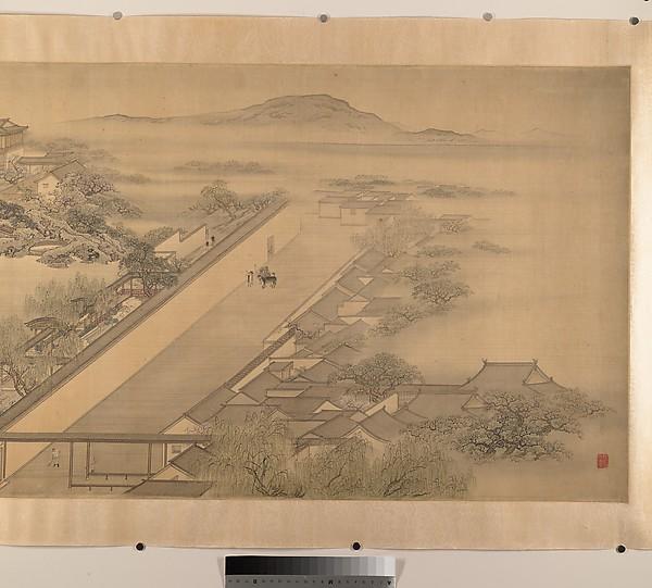 清  佚名  臨袁江瞻園圖  卷<br/>View of a Garden Villa