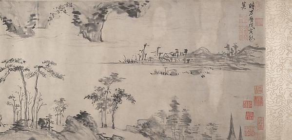 明  傳項元汴  秋江圖  卷<br/>River Landscape