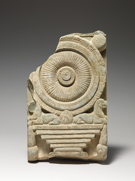 """Dharmachakrastambha'"" (Buddhist Wheel of the Law Pillar) Relief"