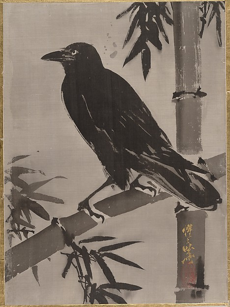 竹に鴉図<br/>Crow on a Bamboo Branch