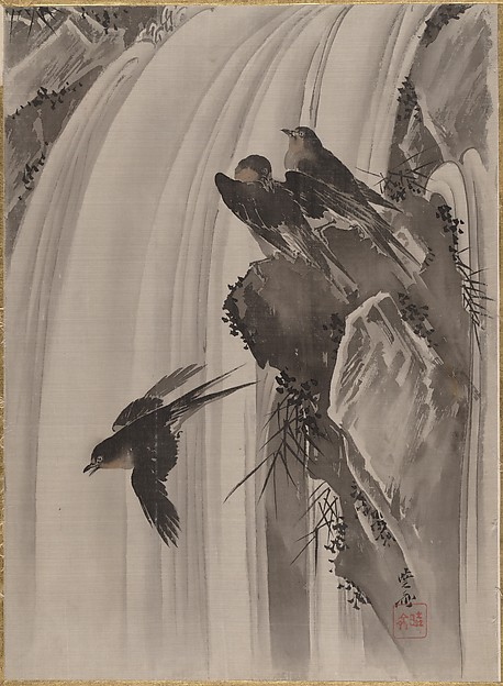 滝に燕図<br/>Swallows by a Waterfall