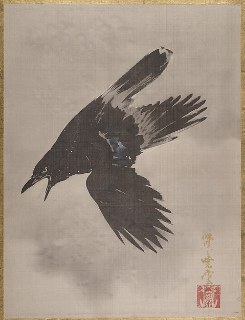 Crow Flying in the Snow