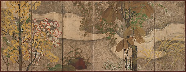 渓流春秋草木図屏風