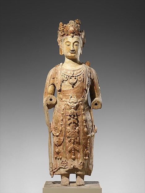 北齊 彩繪石雕觀音菩薩像(砂岩)<br/>Bodhisattva, probably Avalokiteshvara (Guanyin)
