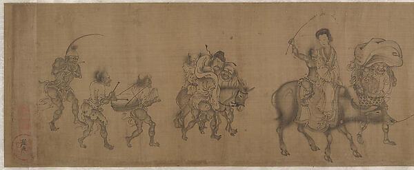 南宋/元  顏庚  鍾馗嫁妹圖  卷<br/>The Demon Queller Zhong Kui Giving His Sister Away in Marriage