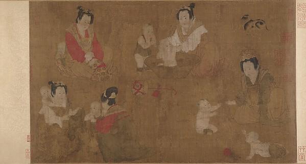 宋  佚名  倣周昉  戲嬰圖  卷<br/>Palace Ladies Bathing Children
