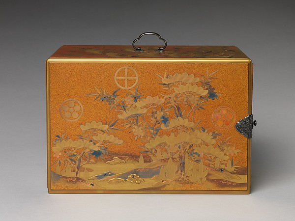 Cabinet with Design of Pine, Bamboo, and Cherry Blossom