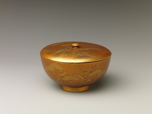 Covered Bowl with Design of Pine, Bamboo, and Cherry Blossom