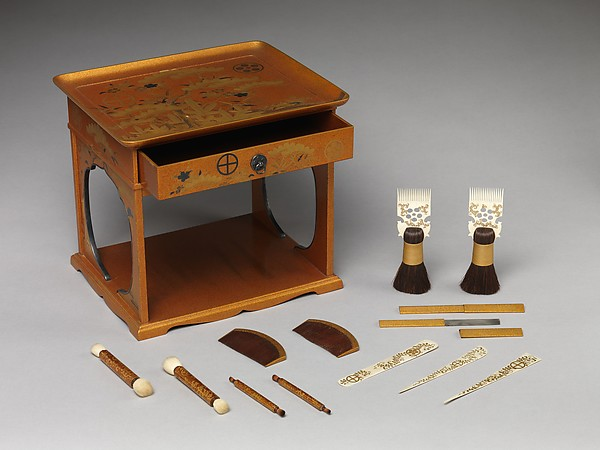 Cosmetic Stand with Design of Pine, Bamboo, and Cherry Blossom