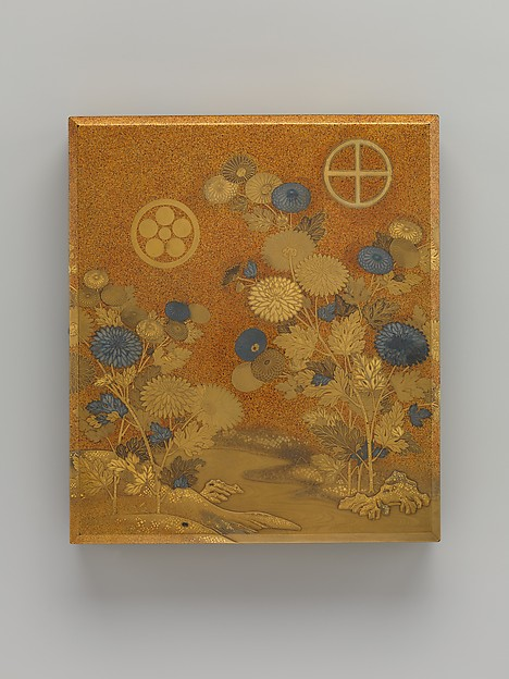 Box with Design of Chrysanthemums by a Stream