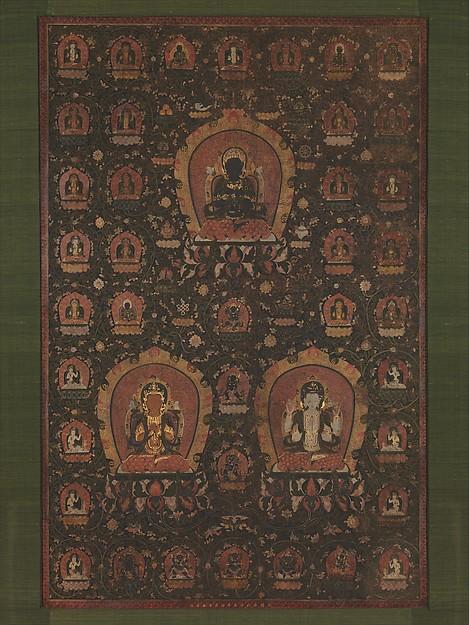 明  佚名  釋教三尊曼陀羅圖  軸<br/>Mandala of Vajradhara, Manjushri and Sadakshari -Lokeshvara