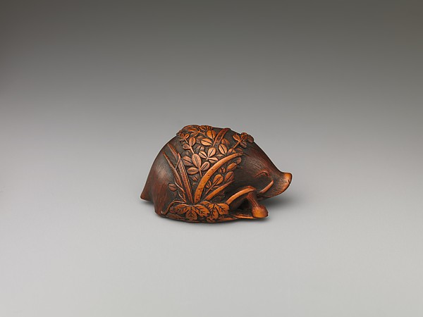 Netsuke in the Shape of a Boar and Grasses