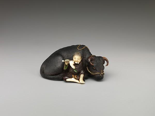 Netsuke of Ox with Bokudo