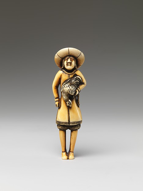 Netsuke of a Foreigner Carrying a Cock