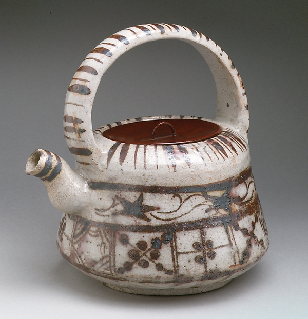 Ewer with Floral and Striped Design