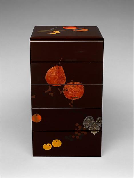 明治時代 柴田是真 果蔬蒔絵重箱  <br/>Tiered Food Box with Summer and Autumn Fruits